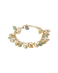 Bracelet with agata light yellow, Swarovski beads light gold and balls scratched