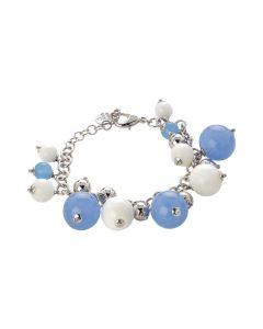 Bracelet with agata light blue agate and white