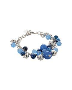 Bracelet with agata light blue, blue and mix blue