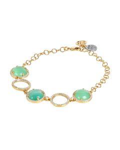Bracelet with zircon elements and aqua green cabochon