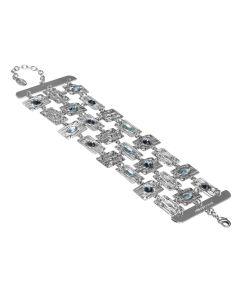 Semi-rigid band bracelet with blue Swarovski