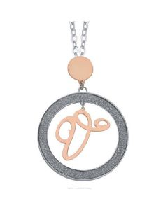 Necklace with letter V small pendant