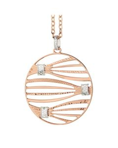 Pink NECKLACE PENDANT WITH bicolor and zircons