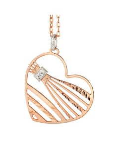 Pink necklace with a pendant in the shape of a heart and zircons