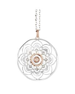 Necklace with pendant mandala and zircons