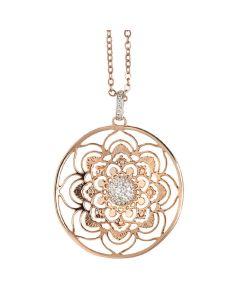 Necklace short shot with mandala pendant and zircons