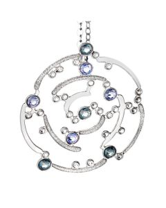 Necklace with a pendant decorated with glitter and Swarovski