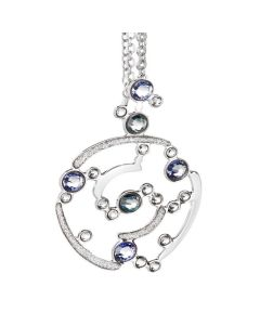 Necklace double wire with a pendant decorated in glitter and Swarovski