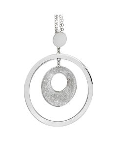 Necklace Pendant with concentric and Swarovski crystal rock