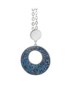 Necklace with a pendant in Swarovski crystal rock bermuda blue