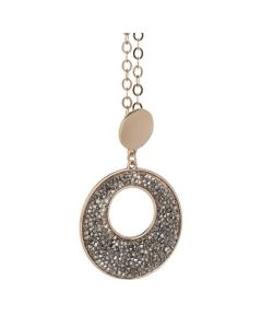 Pink Necklace Pendant with circular and Swarovski crystal rock