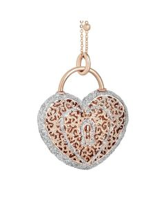 Pink necklace with heart pendant and glitter
