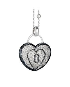 Necklace with heart pendant and glitter bicolor