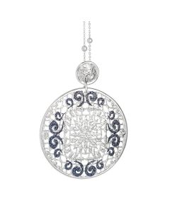 Necklace with circular pendant and glitter bicolor
