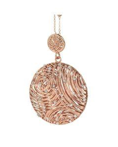 Collana rosata con pendente circolare e punti luce in glitter