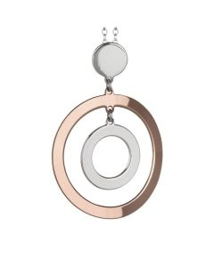 Collana con pendente a due cerchi bicolor concentrici