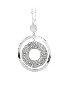 Long Necklace Pendant with concentric and surface galuchat Swarovski silver