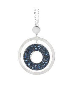 Collana lunga con pendente concentrico e superficie Swarovski galuchat moonlight