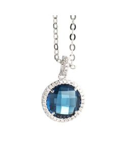 Necklace with crystal Montana and pendant zircons