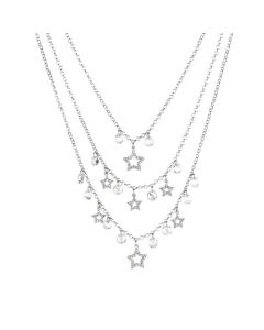Multi-Strand necklace with zircons and crystals crystal