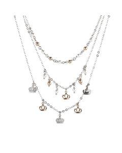 Multi-Strand necklace with zircons and Swarovski beads