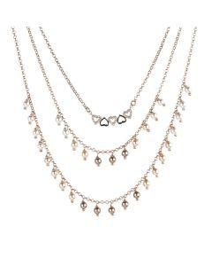 Collana rosata multifilo con perle Swarovski e cuori zirconati