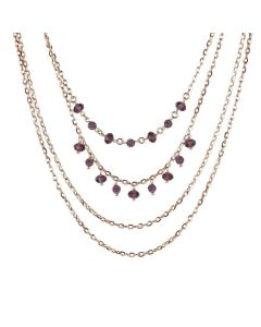 Necklace multiwire pink with Swarovski amethyst and light ametist