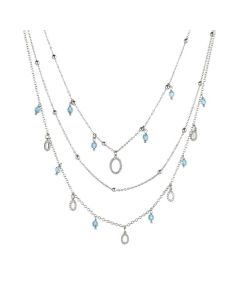 Multi-Strand necklace with oval zirconates and Swarovski Aquamarine