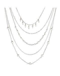 Multi-Strand necklace with Swarovski beads white
