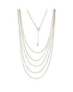 Multi-Strand necklace degradè with pendant in zircons