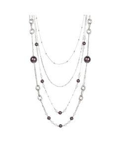 Multi-Strand necklace degradè with Swarovski beads burgundy