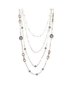 Multi-Strand necklace degradè with Swarovski beads gray