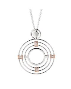 Necklace Pendant with concentric and zircons