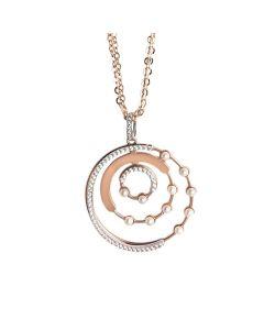 Collana doppio filo rosata con orbite di zirconi e perle Swarovski