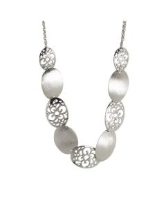 Rhodium plated necklace with breastplate by perforated oval and scratched