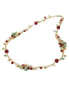 Necklace with cornelian, quartz avventurina ones and agata light yellow
