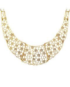 Semi-rigid golden necklace with mesh and Swarovski weave