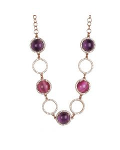 Necklace with cubic zirconia, flamboyant fuchsia cabochon and amethyst