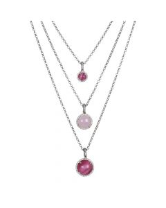 Multi-strand necklace with cubic zirconia and light pink and fuchsia fuchsia cabochons