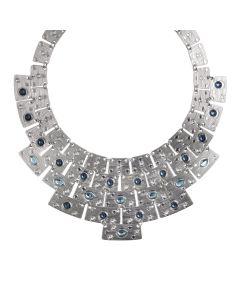 Necklace with Egyptian bib and blue Swarovski
