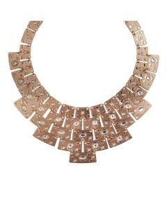 Necklace with Egyptian Swarovski pink bib