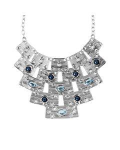 Necklace with semi-rigid central and blue Swarovski