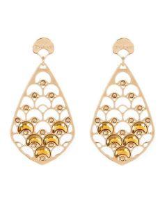Orecchini a goccia placcati oro giallo con decorazione a squame e cristalli