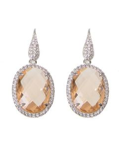 Earrings with crystal champagne and zircons