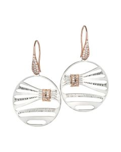 Earrings bicolor with decoration in the form of staple and zircons