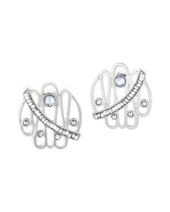 Earrings in the lobe with crystal rock
