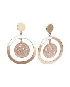 Concentric earrings with surface galuchat Swarovski aurora borealis