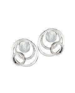 Earrings in the lobe with orbits of mother-of-pearl and zircons