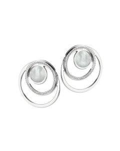 Earrings in the lobe with zircons and central in mother-of-pearl