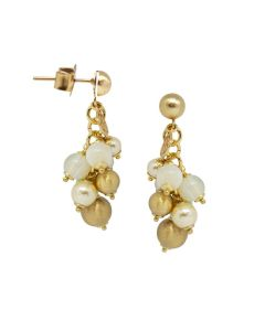 Earrings with agata light yellow, Swarovski beads light gold and balls scratched